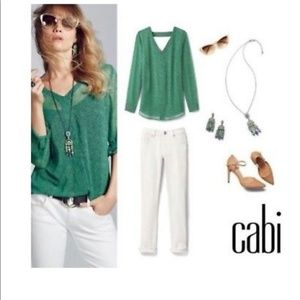 CAbi Bountiful Green Vine Blouse #5208 Size XS